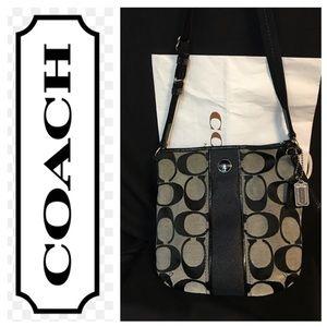 Coach Signature C Print, Fabric Cross Body Bag
